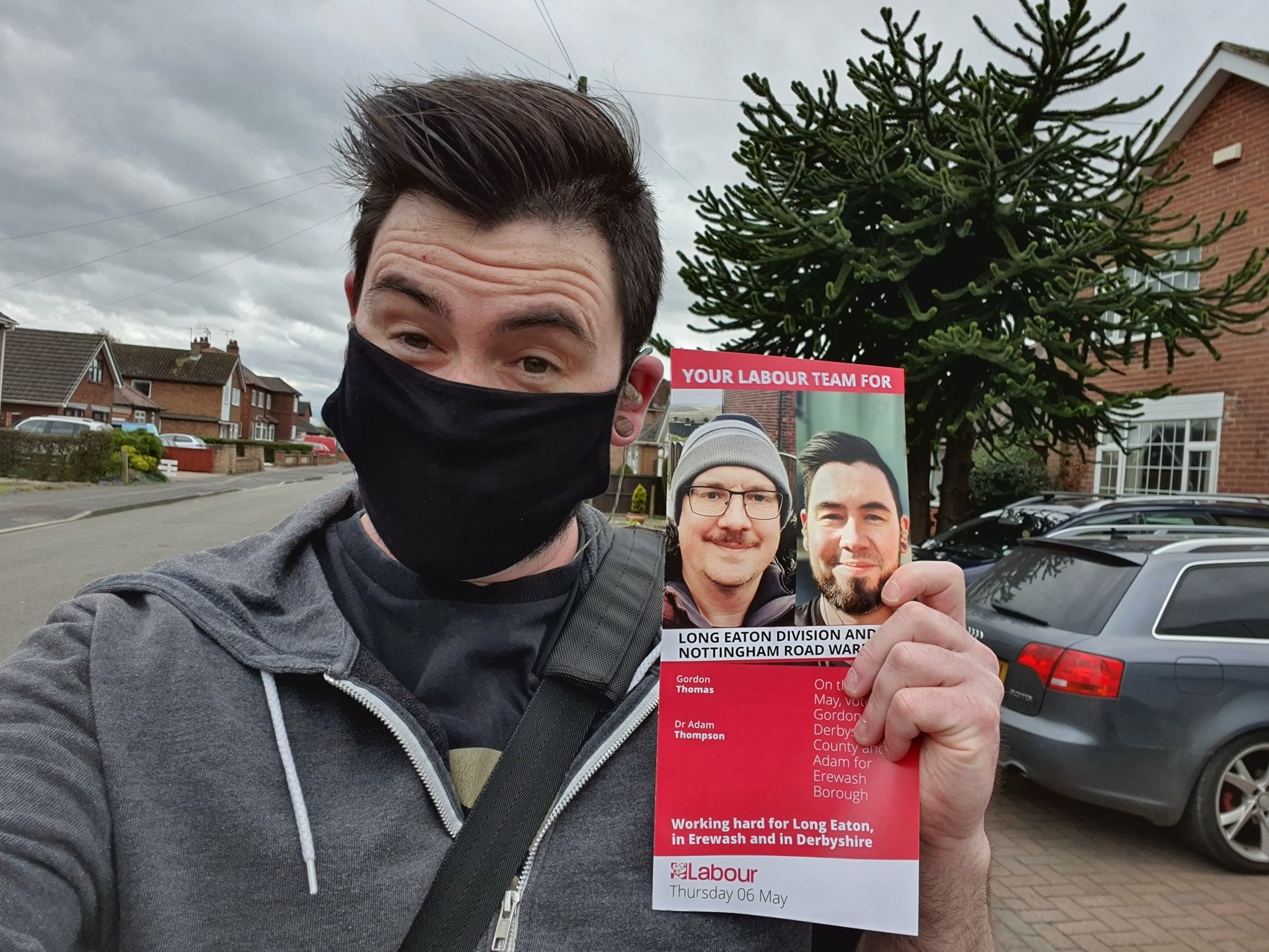 Adam leafleting in Long Eaton